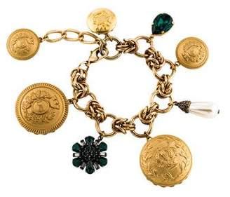 Dolce & Gabbana Crystal & Faux Pearl Charm Bracelet
