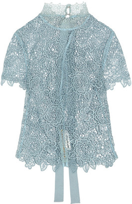 Self-Portrait - Guipure Lace Open-back Top - Sky blue $340 thestylecure.com