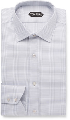 Tom Ford Light-Grey Slim-Fit Prince of Wales Checked Cotton Shirt - Men - Gray