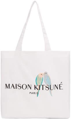 MAISON KITSUNÉ White Lovebirds Tote