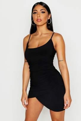 boohoo Rouche Front Panel Mini Dress