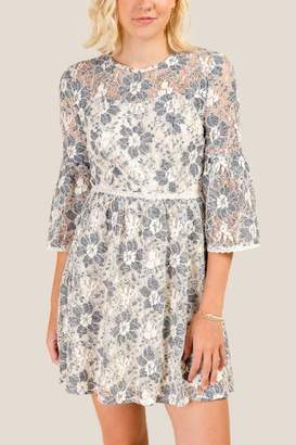 francesca's Bella Floral Lace A-Line Dress - Ivory