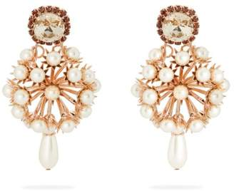 Erdem Crystal Embellished Rose Gold Tone Drop Earrings - Womens - Pearl