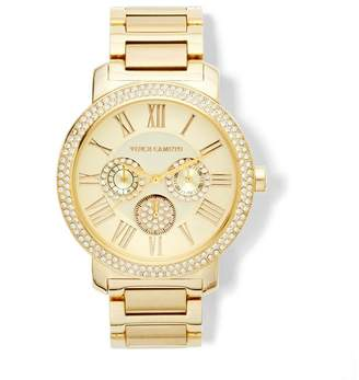 Vince Camuto Goldtone Crystal-bezel Triple-subdial Watch