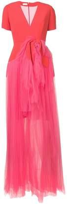 DELPOZO colour-block tulle gown