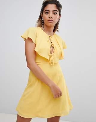 Fashion Union Tea Dress With Tie Cape Detail