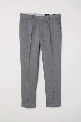 H&M Slim Fit Cropped Suit Pants - Gray