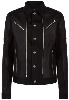 Balmain Leather Trim Denim Biker Jacket