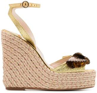 Sophia Webster metallic gold and brown soleil lucita 140 leather sandals