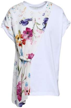 b6c9305004169 3.1 Phillip Lim Floral-print Crepe De Chine-paneled Cotton-jersey Top