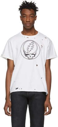 R 13 White Grateful Dead Steal Your Face Distressed T-Shirt