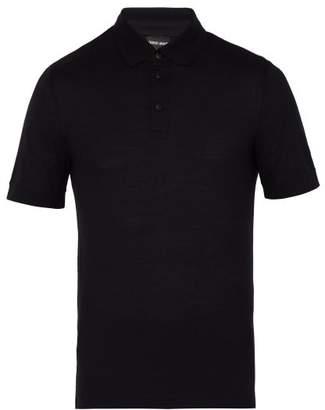 Giorgio Armani Short Sleeved Virgin Wool Polo Shirt - Mens - Navy