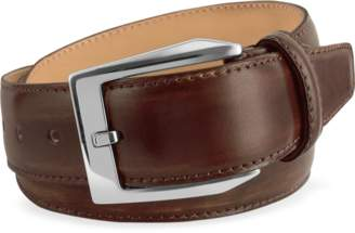 Pakerson Men's Coffee Brown Hand Painted Italian Leather Belt
