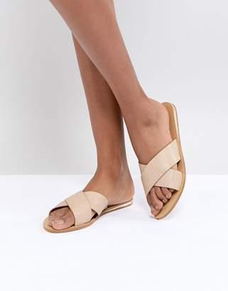 London Rebel Metal Heel Flat Sandal