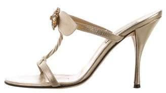 Kaki Daniels Metallic Crystal-Embellished Sandals