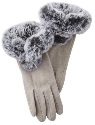 Midwest Design Imports Sutton Faux Fur Gloves, Set of 2 Gloves, One Size Fits Most, 70% Wool; 30% Polyester, Multiple Colors