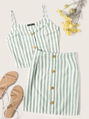 Shein Button Up Vertical Striped Cami Top & Skirt Set