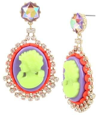 Betsey Johnson Colorful Cameo Drop Earrings