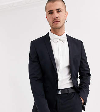 Heart and dagger skinny suit jacket in navy