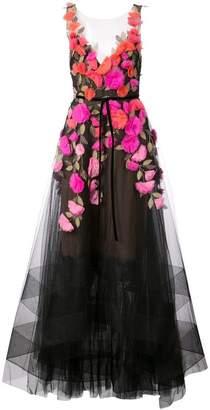 Marchesa floral applique tulle gown