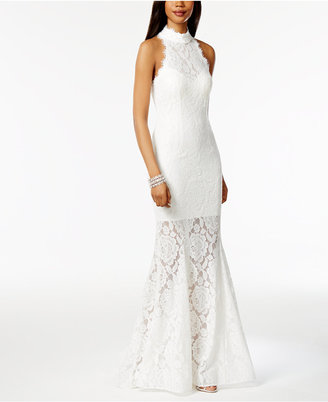 Betsy & Adam Lace Open-Back Mermaid Gown $279 thestylecure.com