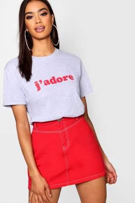 boohoo J'adore Slogan T-Shirt