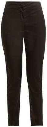 The Row Vivienne High Rise Slim Leg Cotton Trousers - Womens - Black