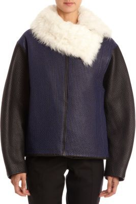 Proenza Schouler Shearling Collar Short Coat