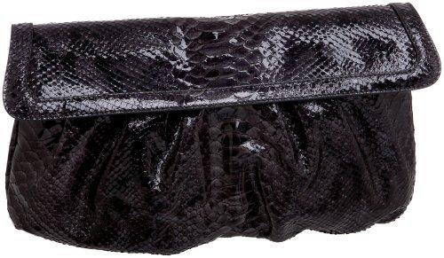 SONDRA ROBERTS NEW YORK Python Leather Flap Clutch