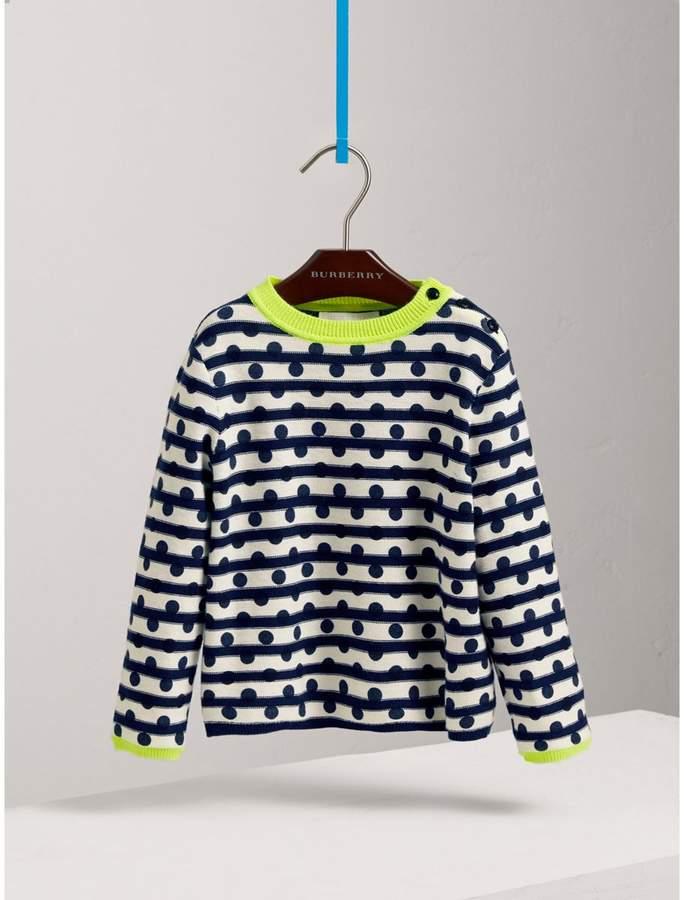 Dot Print Striped Cotton Cashmere Sweater