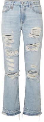 R 13 Bowie Distressed Mid-rise Straight-leg Jeans - Light denim