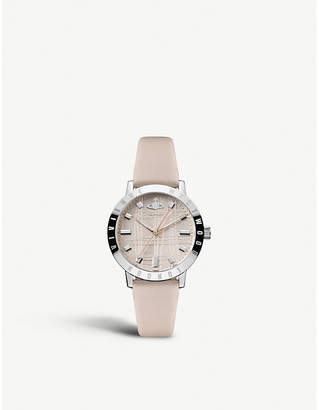 Vivienne Westwood VV152LPKPK Bloomsbury stainless steel and leather strap watch