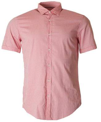 BOSS Short Sleeved Slim Fit Checked Shirt