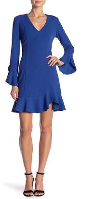 Donna Morgan Bell Sleeve Ruffled Crepe Dress