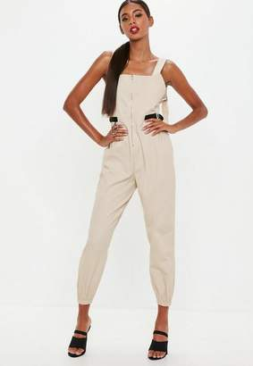 Missguided Sand Utility Dungaree Romper