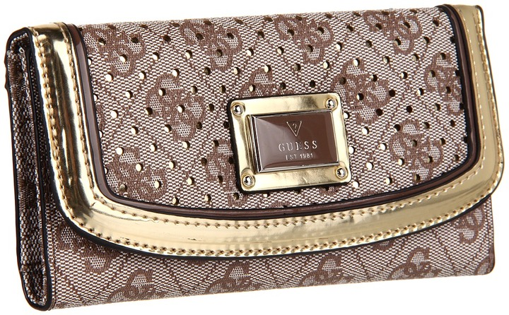 GUESS Madaket Slim Clutch (Gold Multi) - Bags and Luggage