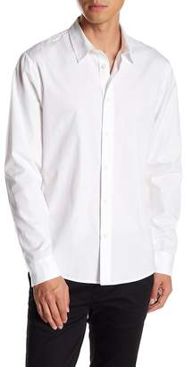 Vince Long Sleeve Solid Trim Fit Woven Shirt