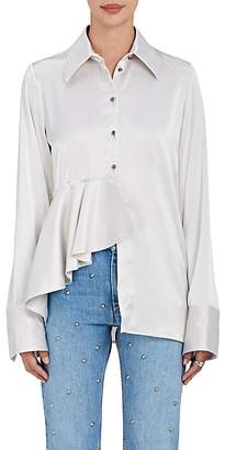 Off-White WOMEN'S RUFFLE-DETAILED SATIN BLOUSE
