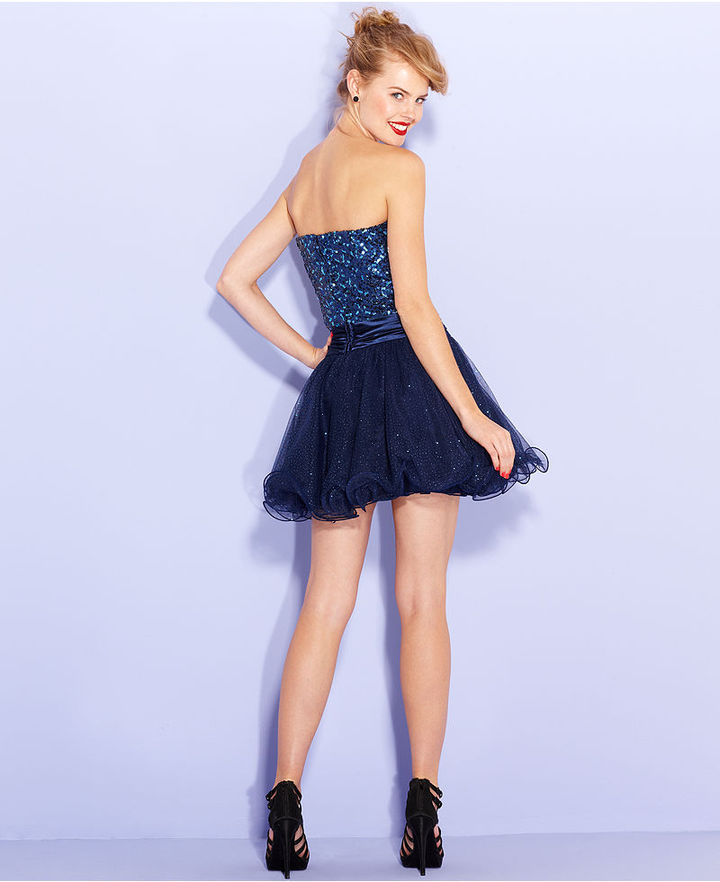 Speechless Juniors Dress, Strapless Sequin Mesh A-Line
