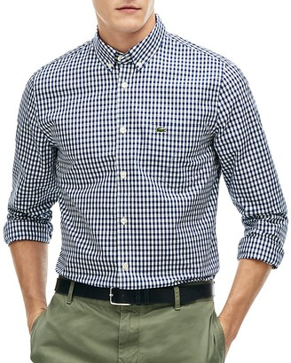 Lacoste Gingham Regular Fit Button-Down Shirt $98 thestylecure.com