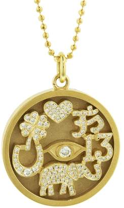 Jennifer Meyer Diamond Good Luck Charm Necklace - Yellow Gold