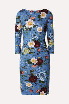 Erdem Reese Floral-print Stretch-jersey Mini Dress - Blue