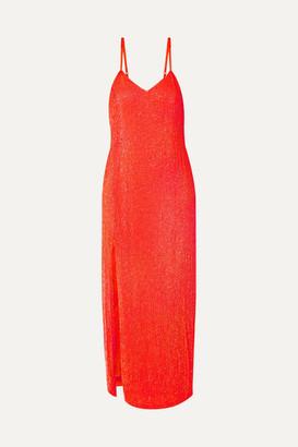 retrofete Rebecca Neon Sequined Chiffon Midi Dress - Orange