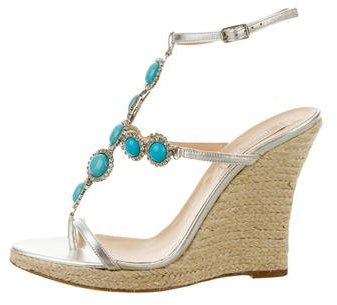 MICHAEL Michael Kors Michael Kors Metallic Embellished Wedge Sandals
