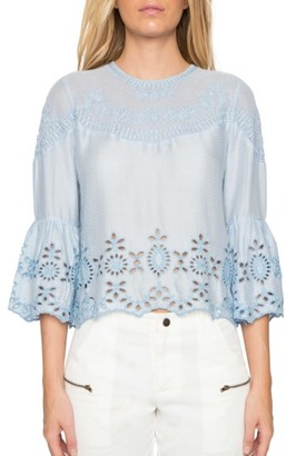 Women's Willow & Clay Embroidered Bell Sleeve Top $79 thestylecure.com