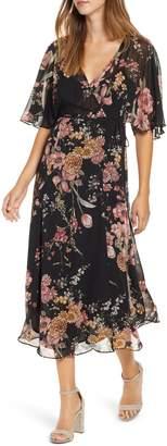 Leith Kimono Wrap Midi Dress