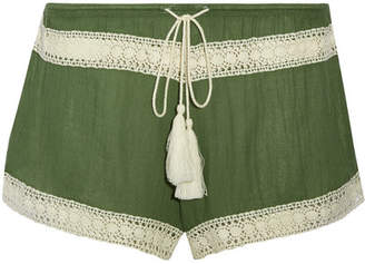 Eberjey - Pippa Crochet-trimmed Gauze Shorts - Army green $80 thestylecure.com