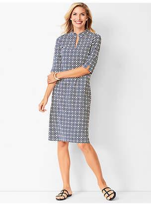 Talbots Geo-Print Mockneck Knit Shift Dress