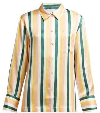 Asceno - Striped Sandwashed Silk Pyjama Top - Womens - Yellow Stripe