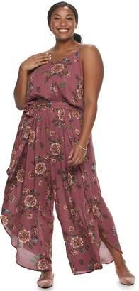 American Rag Juniors' Plus Size Floral Wrap Jumpsuit
